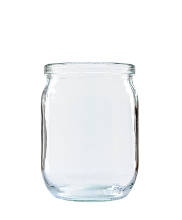 Transparent glass jar without top on white background