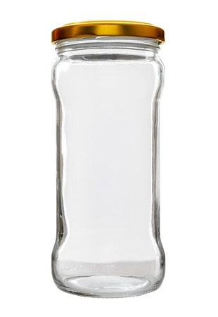 High transparent glass jar on white background, with the closed gold color top