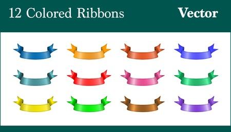 Een set van twaalf kleurrijke klassieke banners Stock Illustratie