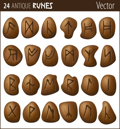 24 antique runes carved on pebbles Vector