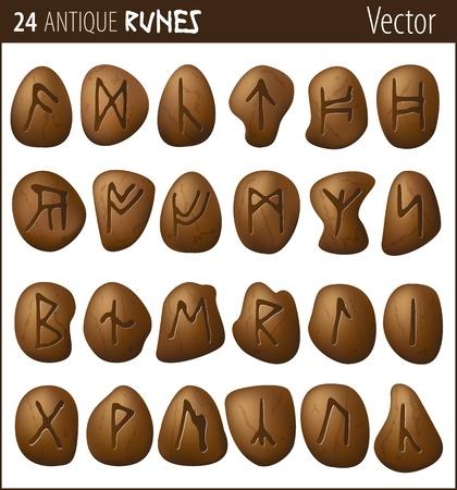 24 runes antiques gravées sur des galets Banque d'images - 21821315