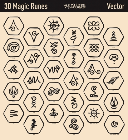 Dertig mooi antiek en magie elfic runen Stock Illustratie
