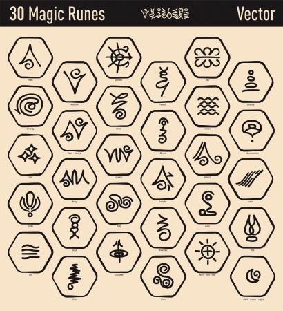 Trente belles runes elfiques anciennes et magiques Banque d'images - 21930520