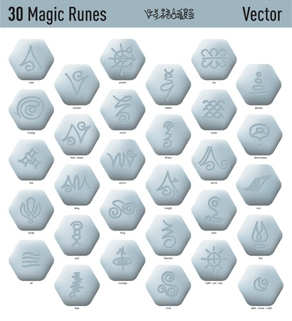 Thirty nice antique and magic elfic runes Vector