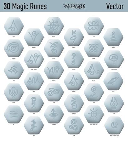 Treinta agradables runas y la magia élfica antiguos Ilustración de vector
