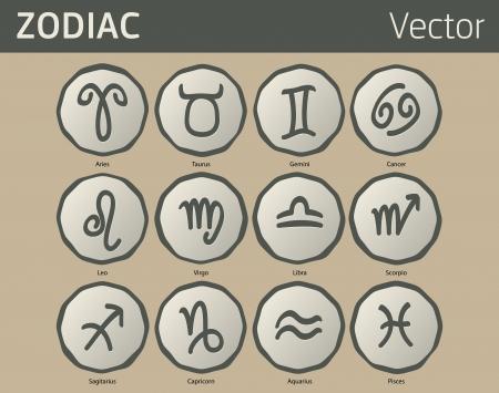 future twin: Twelve antique zodiac symbols, like old coins