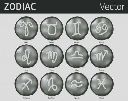 Twelve antique zodiac symbols, like old coins Vector