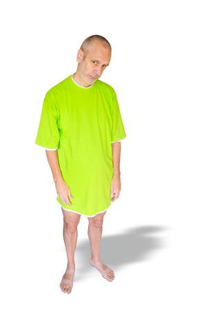 nightdress: A depressed man in green nightdress, on white background