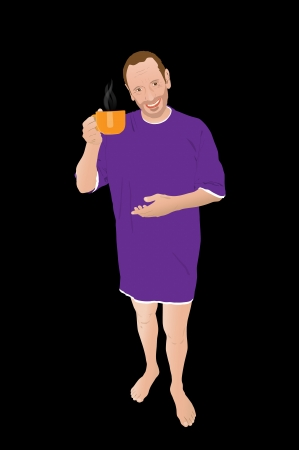 A man waking-up and drinking coffee in a big orange cup Ilustração