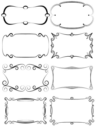 border line: A set of antique decorative frames for various uses