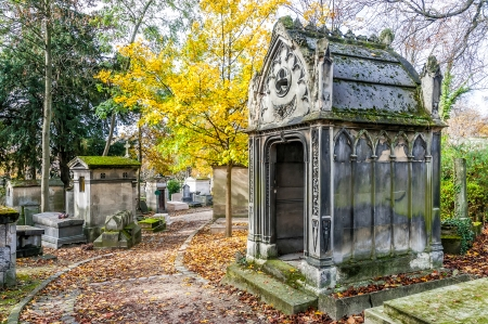 A view of the Pere Lachaise, the most famous cemetery with the tombs of very famous people