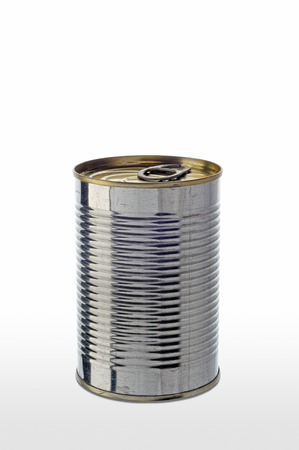 A simple tomato tin can on white background photo