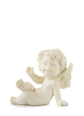 A little miniature statue of a white angel with wings on a white background Stock Photo