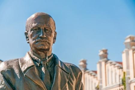 Detail of the Igor Sikorsky statue in the Polytechnic institute of Kiev in Ukraine Stock Photo