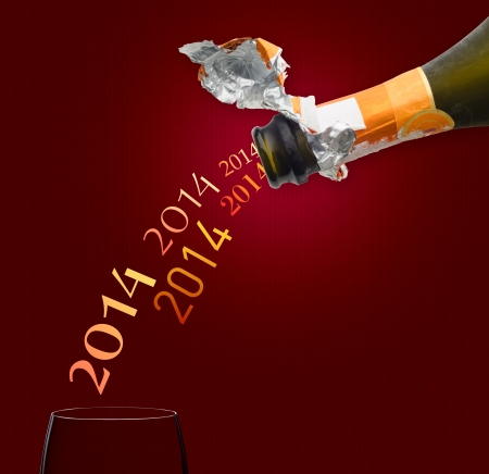 fourteen: Champagne for new year two thousand fourteen Stock Photo