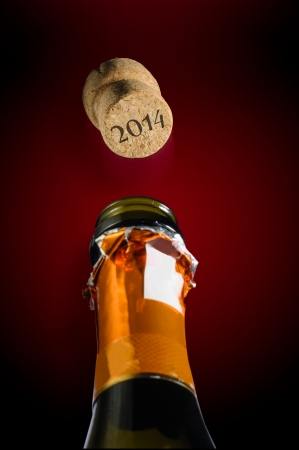 Champagne for new year two thousand fourteen Stock Photo