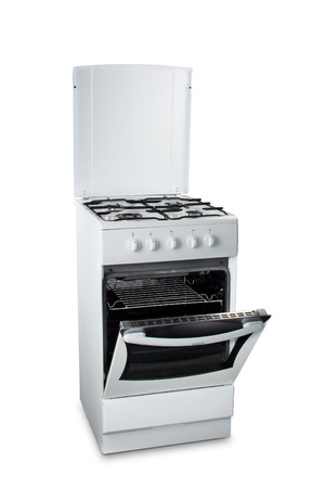 White stove with the open oven