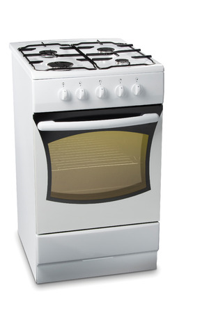 White stove with light in oven Stock Photo