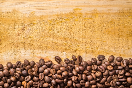 coffee beans and light wood texture