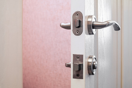 deadbolt: Safety or security lock on a toilets door