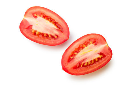 Cut San Marzano tomato isolated on white background