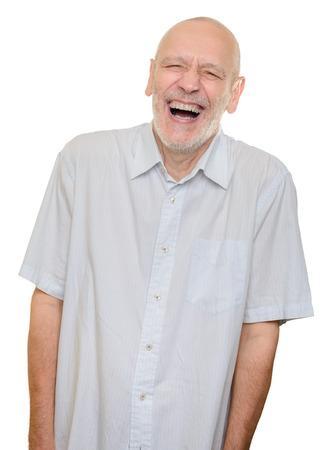 Homme avec la chemise en coton léger rire à haute voix, isolé sur fond blanc