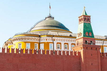 bulwark: A detail of the Kremlin in Moscow with bulwark and battlement  Stock Photo