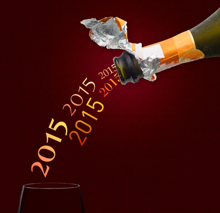 two thousand and fourteen: Champagne for new year two thousand fourteen Stock Photo