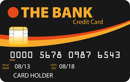 Black credit card with orange and gold curves Illustration
