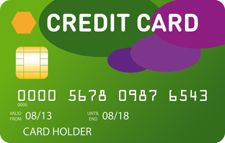 Green credit card with green and violet ovales Vector
