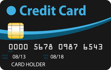 Black credit card with blue and sky blue curves