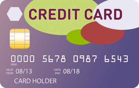 violet red: Violet credit card with green, red and pink ovales