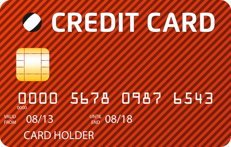 oblique: Red and brown credit card with oblique lines