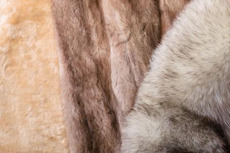 sheepskin: Piel de oveja rubio, azul y rojo zorro pieles de vis�n sable Foto de archivo
