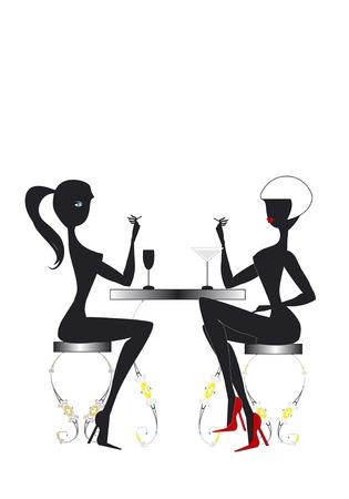 Twee jonge chatten vrouwen zitten aan een tafel in een barokke bar, het roken van sigaretten, en het drinken van verse cocktails Stock Illustratie