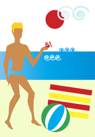 prince charming: A blond man close to a red and yellow striped beach towels on the sand is playing Prince Charming with a red shoe in hand for his Cinderella