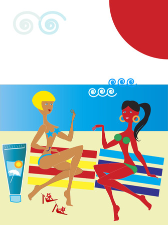 women talking: Women talking on red and yellow striped beach towels and using sunscreen cream Illustration