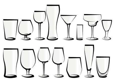 Vector illustratie set van een bril, zoals je kunt vinden in een bar of een restaurant. Welke aard dan ook, voor elk gebruik, voor water, frisdrank, alcohol en sterke drank
