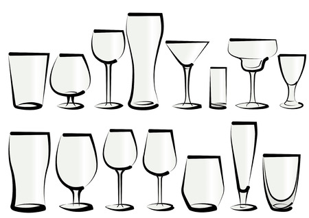 Vector illustration set of glasses, as you can find in a bar or a restaurant. Any kind, for any use, for water, soft drinks, alcohol and liquor Ilustração