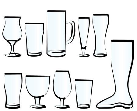 Vector illustratie set van bierglazen, zoals je kunt vinden in een bar, een café of een restaurant.