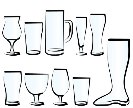 Vector illustration set of beer glasses, as you can find in a bar, a pub or a restaurant. Vector