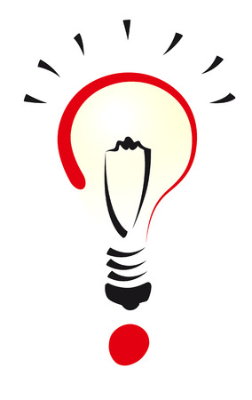 A bulb representing an idea and a question mark to symbolize the research of new ideas Illustration