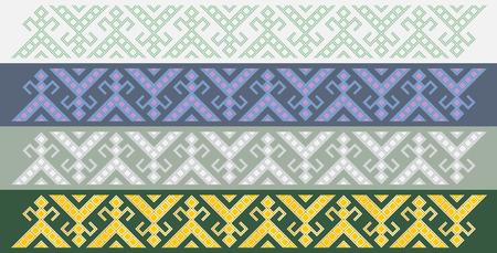 slavic: Quattro semplici senza soluzione di fregi tradizionali slavi Vettoriali