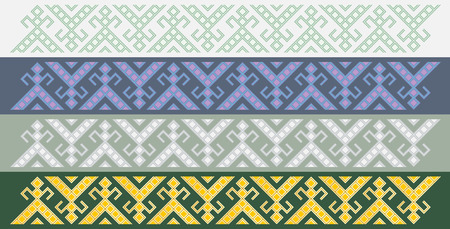 Four simple seamless traditional slavic friezes