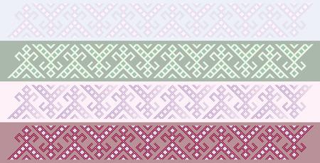 slavic: Four simple seamless traditional slavic friezes