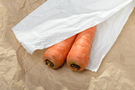 craft paper: Dos buenas zanahorias naturales en piezas de color marr�n y blanco de papel del arte