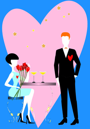 dinner date: Two elegant lovers, a woman and a man, with flowers and heart, are waiting to celebrate the  Saint Valentines day dinner. Illustration