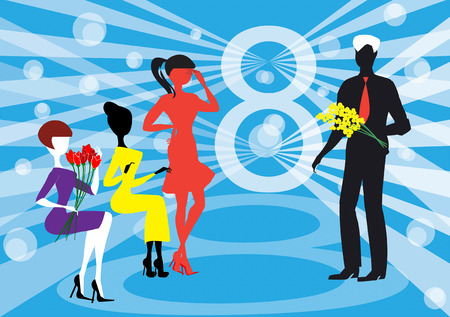A man presents mimosa flowers to the women for the 8th of March, the womens day. Vector
