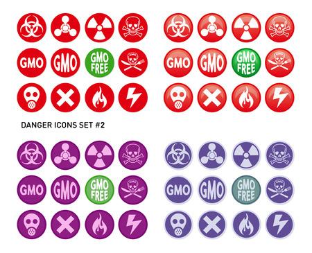 sustancias toxicas: Conjunto de iconos para el producto peligrosos y arriesgados como radiaciones, venenos, sustancias t�xicas o incendios y electricidad Vectores