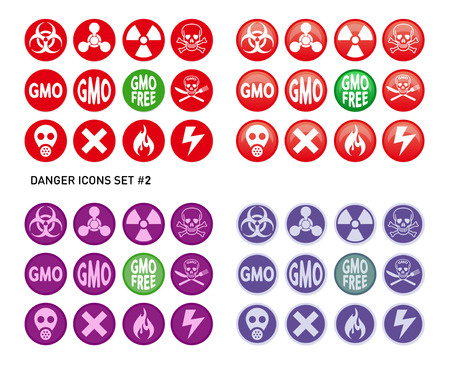 Set of icons for dangerous and hazardous product like radiations, poisons, toxic substances or fire and electricity